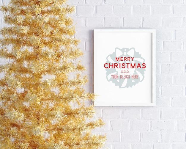 Christmas decoration with yellow christmas tree and picture frame mockup Premium Psd