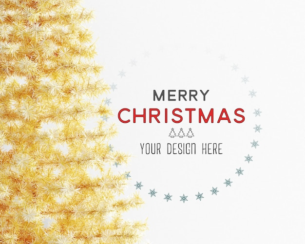 Christmas decoration with yellow christmas tree and wall mockup Premium Psd