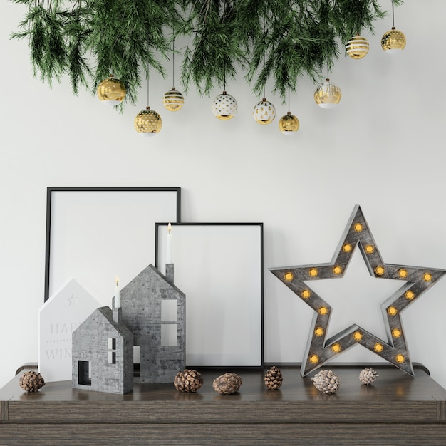 Christmas decorations on the table Free Psd