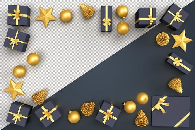 Рождественские декоративные элементы и подарочные коробки, образующие прямоугольную рамку Premium Psd