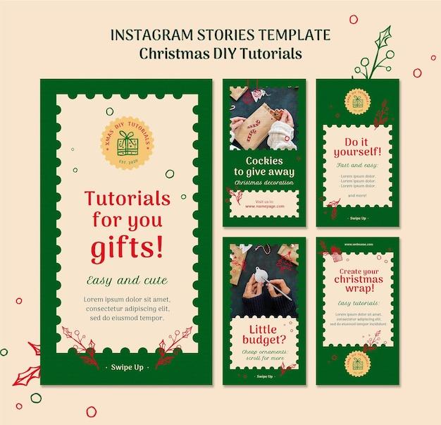 クリスマスdiyチュートリアルinstagramstoiresテンプレート Premium Psd