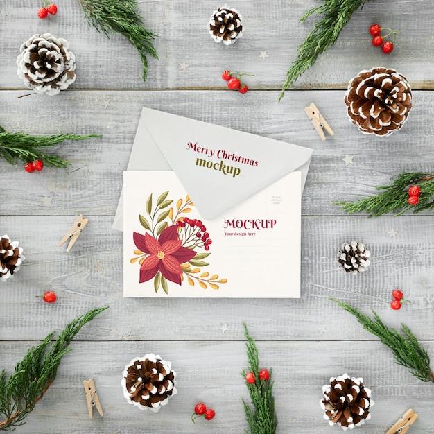 카드와 봉투 크리스마스 이브 합의 무료 PSD 파일