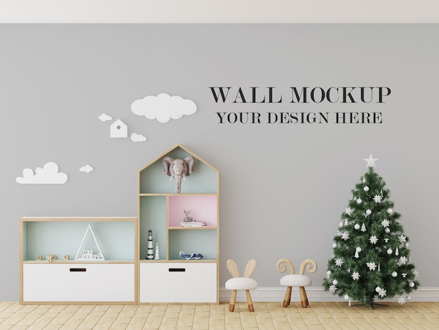 クリスマスイブ幼稚園の壁のモックアップ Premium Psd