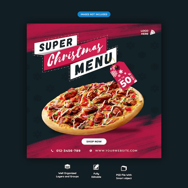 Christmas fast food menu social media instagram post template premium psd Premium Psd