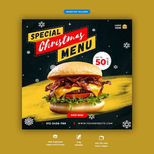 Christmas food banner social media instagram post template premium psd Premium Psd