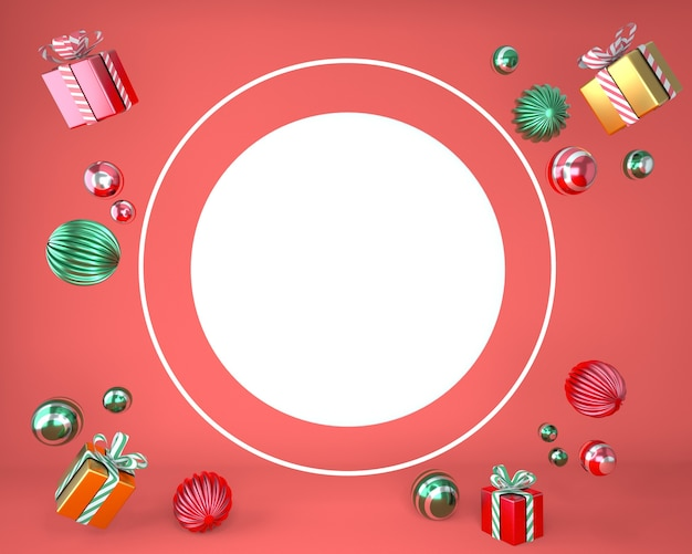 Christmas frame made of festive decorations and gift boxes in 3d rendering Premium Psd
