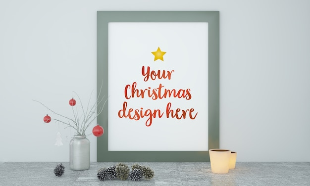 Christmas frame mockup with decoration Premium Psd