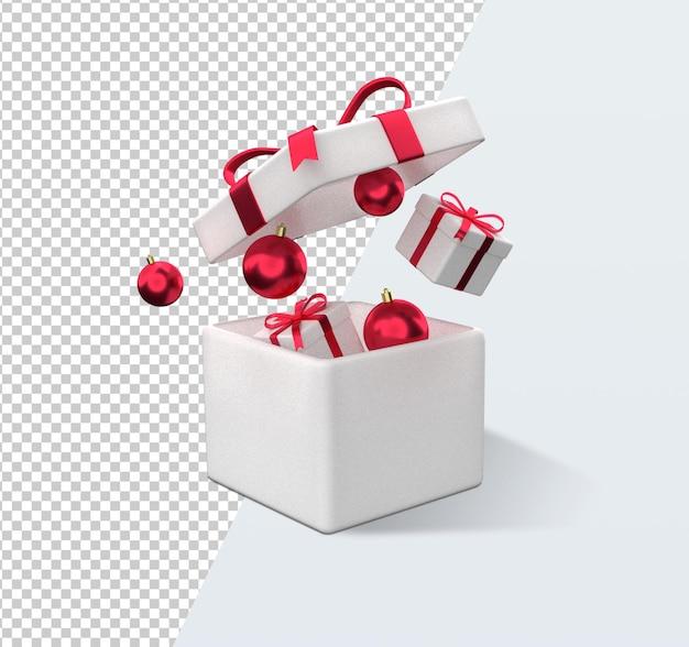 Рождественский подарок коробка мультфильм 3d рендеринг изолированные Premium Psd
