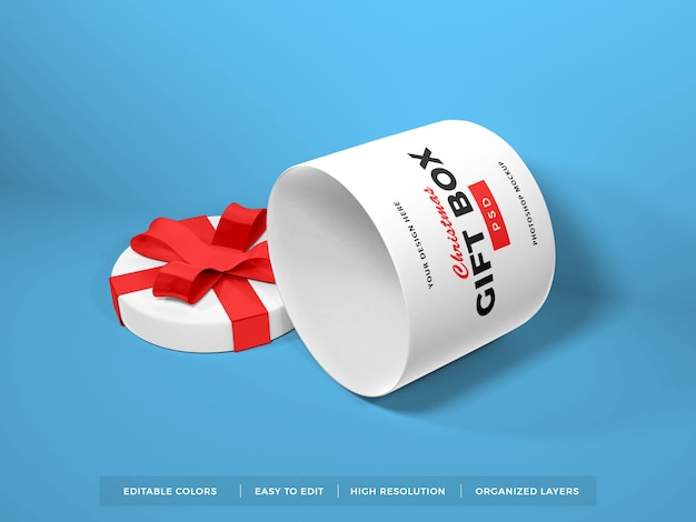 Christmas gift box with ribbon mockup Premium Psd