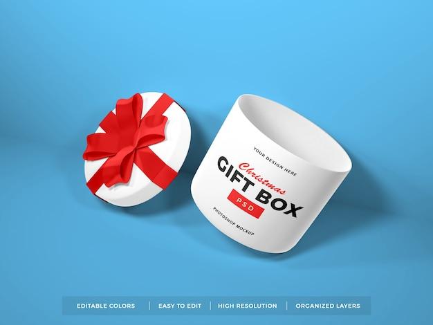 Christmas gift box with ribbon mockup Premium Psd