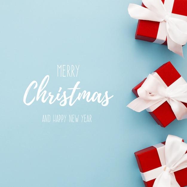 Рождественские подарочные коробки на краю Бесплатные Psd