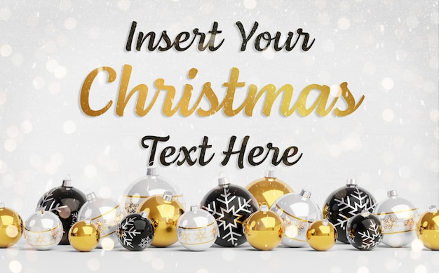 Christmas greeting card mockup with text and golden baubles Premium Psd