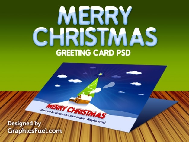 christmas greeting card psd Free Psd