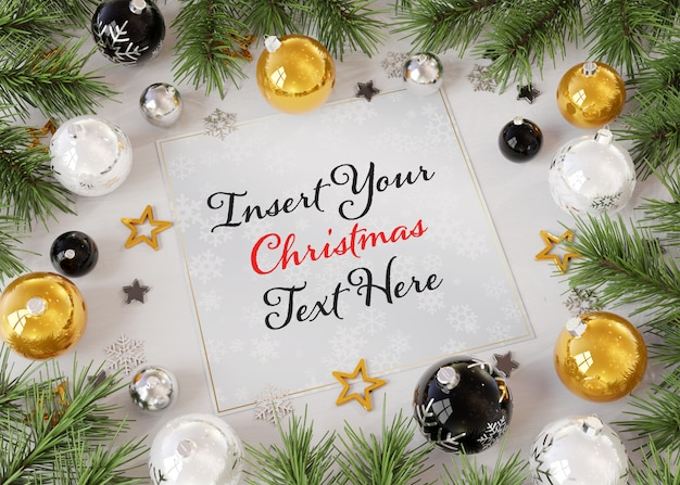Christmas greeting card on wooden surface with christmas ornaments mockup Premium Psd