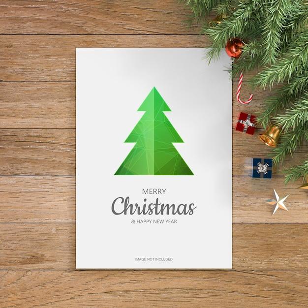 クリスマスの挨拶のデザインのモックアップ 無料 Psd
