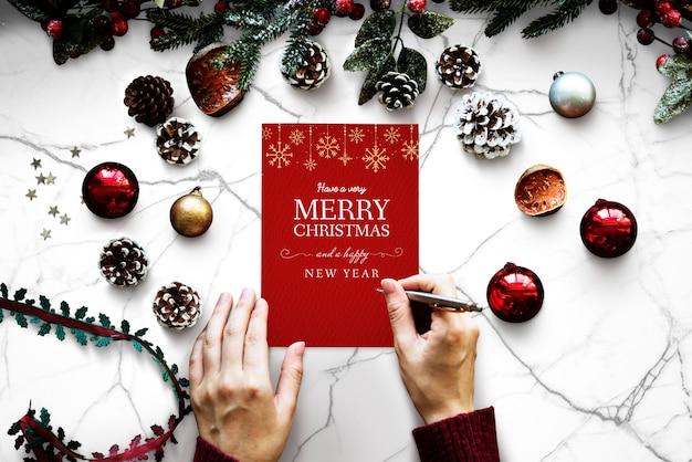 Рождественский праздник поздравительный макет дизайна Бесплатные Psd