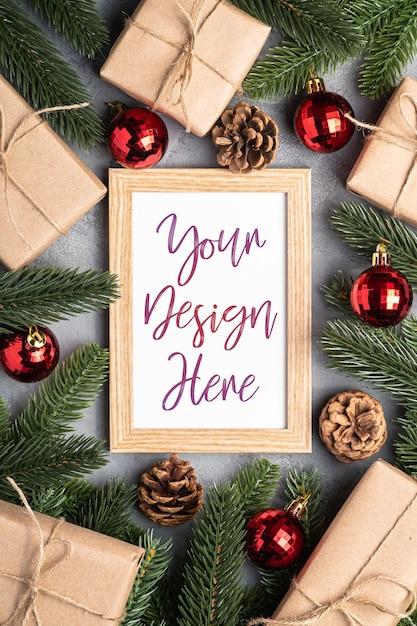 Рождественские праздники композиция с картинной рамкой Premium Psd