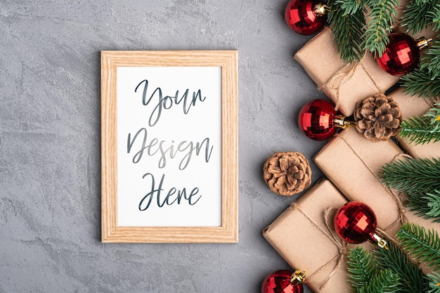 Christmas holidays composition with picture frame Premium Psd