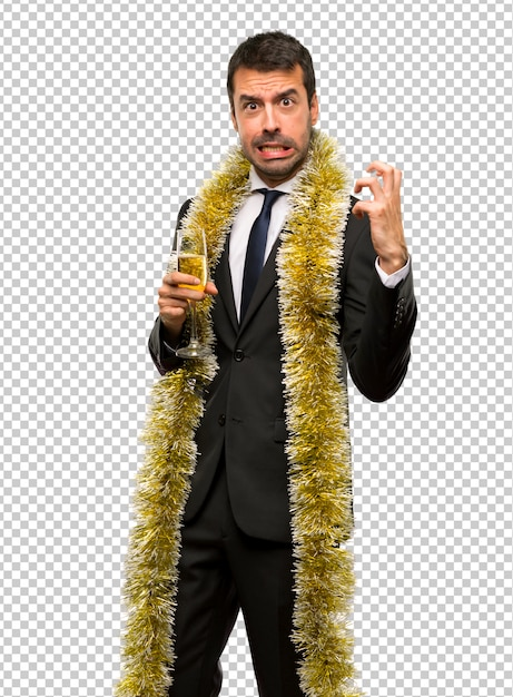 Christmas holidays event. man with champagne celebrating new year 2019 Premium Psd
