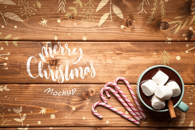 Christmas hot chocolates and sweets with copy space Free Psd