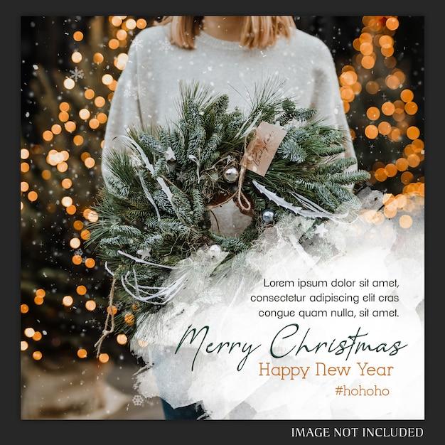 Christmas instagram post card Premium Psd