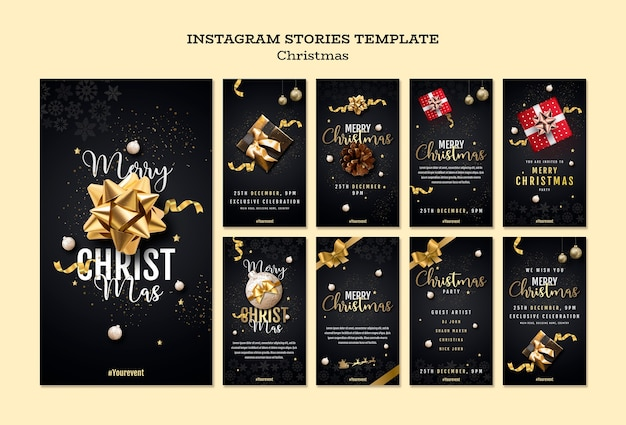 Christmas instagram stories collection Free Psd