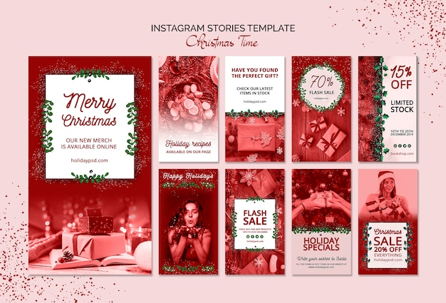 Christmas instagram stories template Free Psd