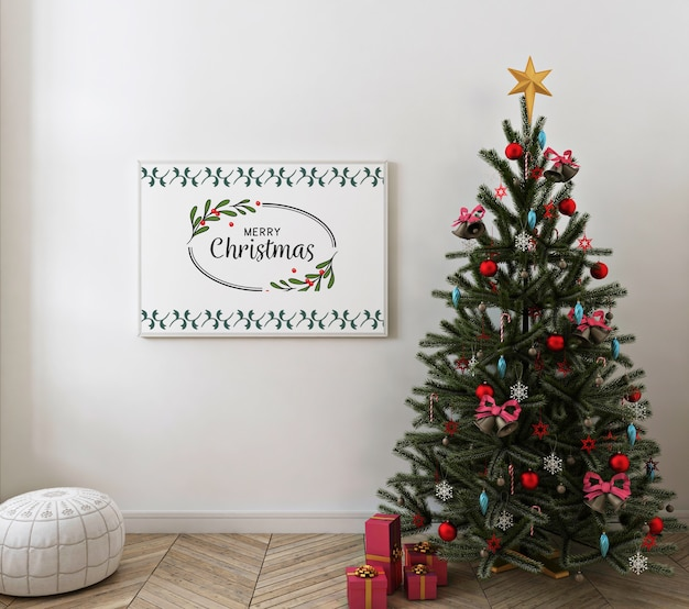 Christmas interior with mockup poster frame Premium Psd