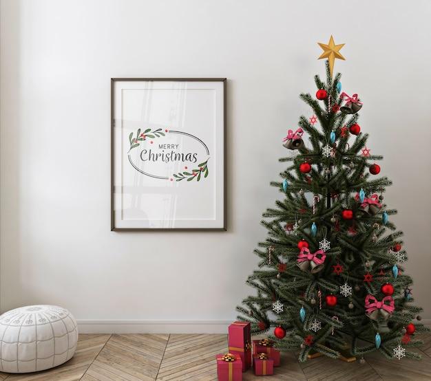 Christmas interior with mockup poster frame Premium Psd