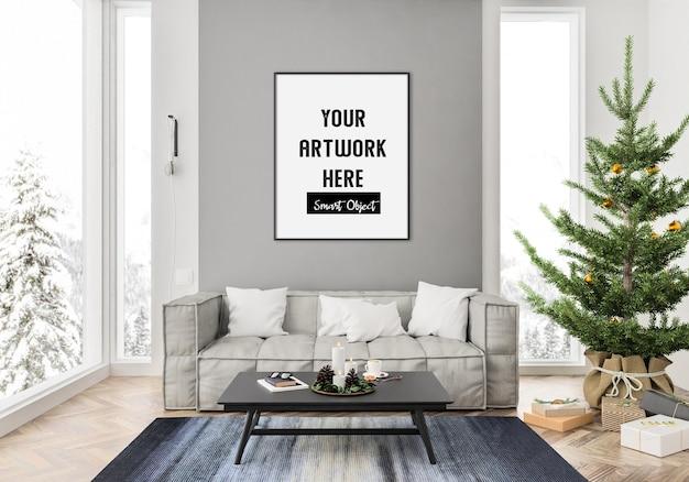 Рождественский интерьер с макетом вертикальной рамы Premium Psd