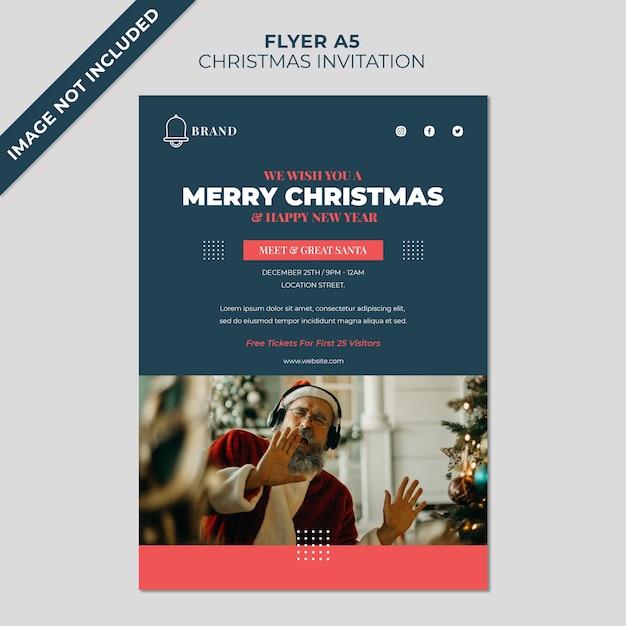 크리스마스 초대장 만나고 인사하는 산타 전단지 표지 템플릿 프리미엄 PSD 파일