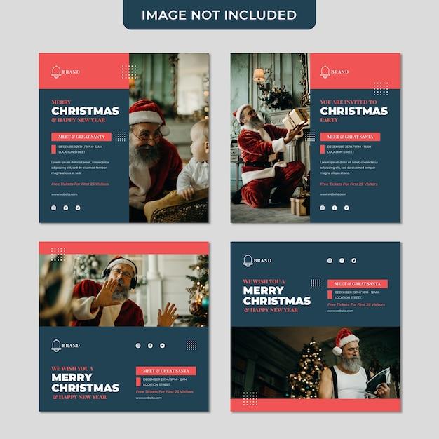 크리스마스 초대장은 산타 소셜 미디어 게시물 컬렉션 템플릿을 만나고 인사합니다. 프리미엄 PSD 파일