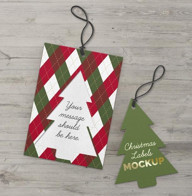 크리스마스 라벨 컷 아웃 트리 무료 PSD 파일