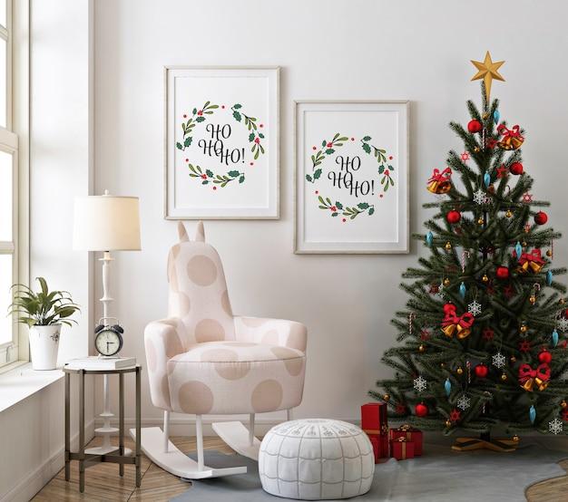 Christmas living room with mockup poster frame and christmas tree Premium Psd