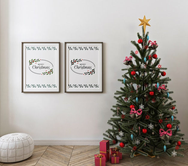 Christmas living room with mockup poster frame Premium Psd