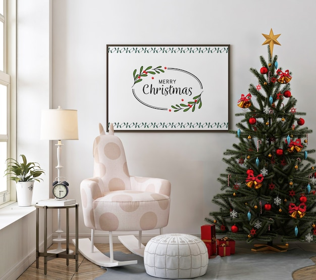 Christmas living room with poster frame mockup and rocking chair Premium Psd