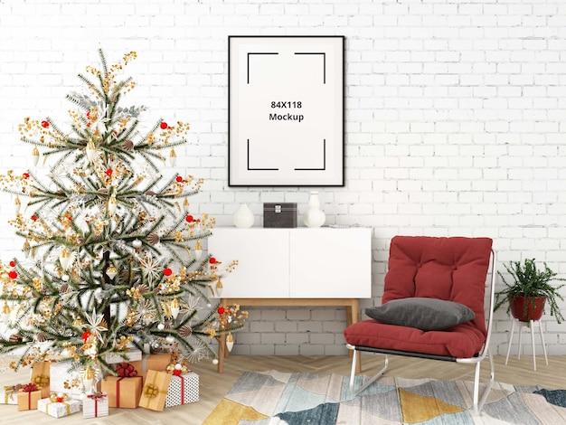 Christmas living room with poster mockup Premium Psd