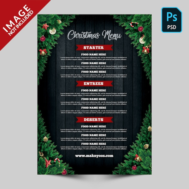 Christmas menu back side template Premium Psd
