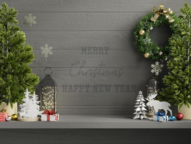 Christmas mockup dark wall in living room interior. Free Psd
