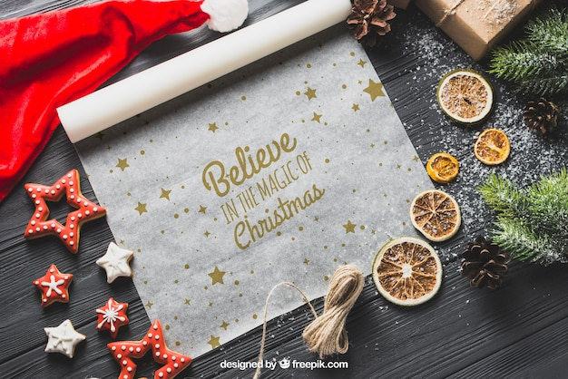 Christmas mockup on baking paper Free Psd