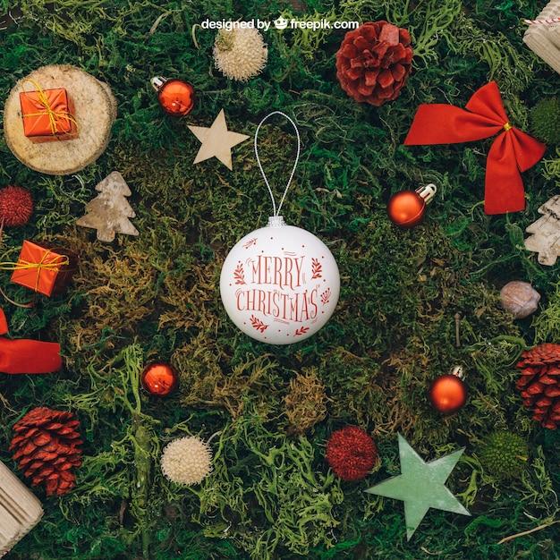 Christmas mockup with ball Free Psd