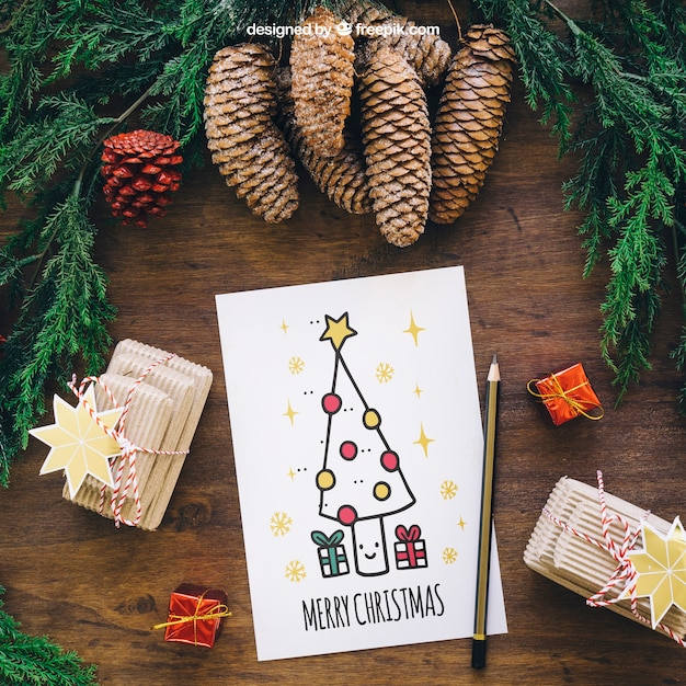 Christmas mockup with card Free Psd