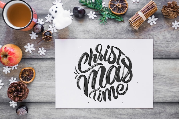 Christmas mockup with cover or letter Free Psd