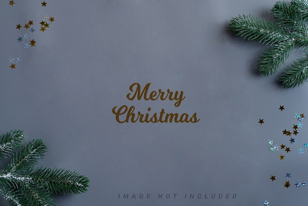 Christmas mockup with decoration and fir twigs. Premium Psd