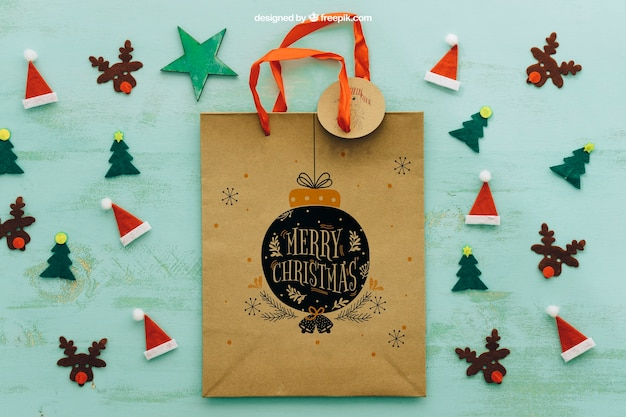 Christmas mockup with shopping bag Free Psd