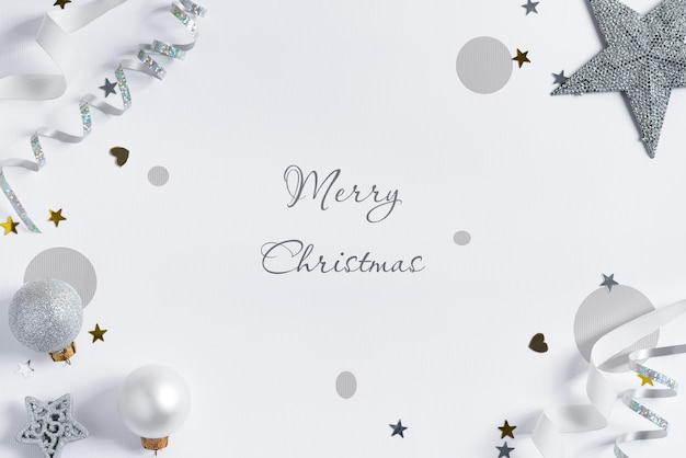 Christmas mockup with silver ribbon and decoration. Premium Psd