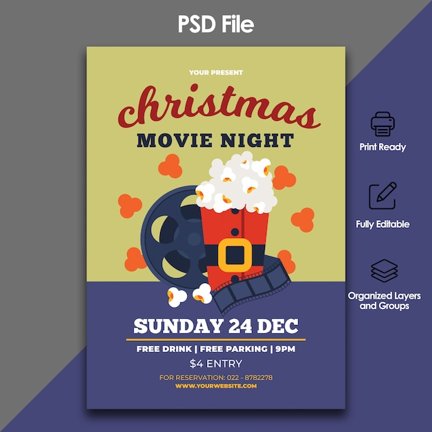 Christmas Movie Flyer Template Psd File Premium Download