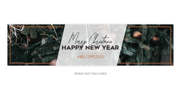 Christmas and new year banner template Premium Psd