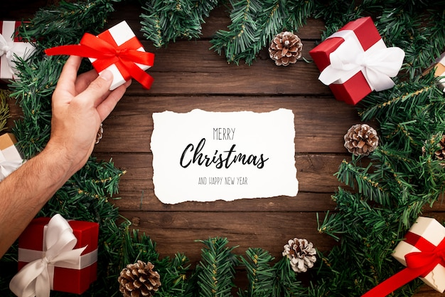 Christmas ornaments on a black background Free Psd