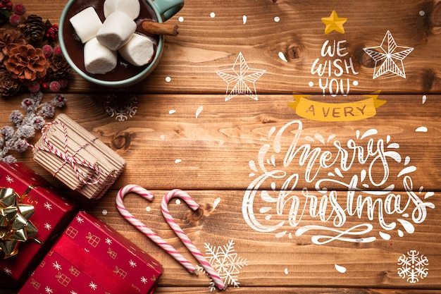 Christmas ornaments and sweets with copy space Free Psd